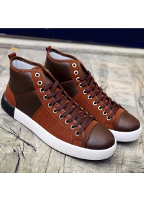 Lace-Up Splicing Suede Casual Shoes