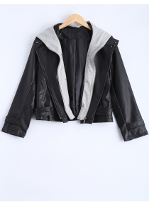 Plus Size Hooded Faux Leather Jacket