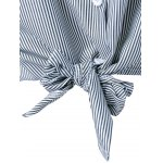 Appliques Striped Tie Shirt for sale