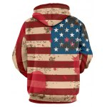 cheap Distressed American Flag Drawstring Pullover Hoodie