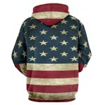 cheap Distressed American Flag Pullover Hoodie