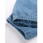 best Patch Embellished Elastic Cuffs Drawstring Jeans