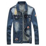 Patched Pockets Front Button Up Ripped Denim Jacket