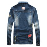 cheap Patched Pockets Front Button Up Ripped Denim Jacket