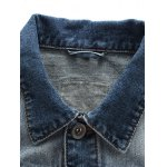 Patched Pockets Front Button Up Ripped Denim Jacket deal
