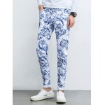 cheap Ornate Print Five-Pocket Zipper Fly Tapered Jeans