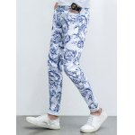 Ornate Print Five-Pocket Zipper Fly Tapered Jeans deal