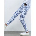 best Ornate Print Five-Pocket Zipper Fly Tapered Jeans