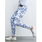 Ornate Print Five-Pocket Zipper Fly Tapered Jeans for sale