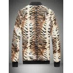 cheap Tigrina Print Zip Up PU Leather Jacket