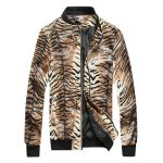Tigrina Print Zip Up PU Leather Jacket