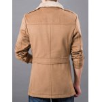 best Plush Lined Epaulet Design Button-tab Cuffs Coat