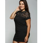Plus Size Lace Insert Pocket Design Dress deal