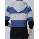 cheap Zip Up Color Spliced Sherpa Hoodie
