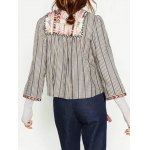 cheap Round Neck Striped Embroidered Jacket