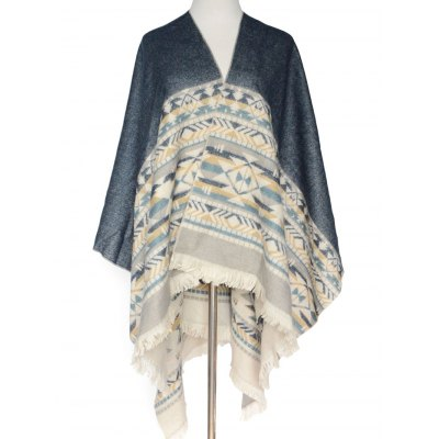 Geometry Fringed Wrap Pashmina
