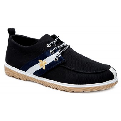 Lace-Up Striped Pattern Color Splicing Canvas Shoes