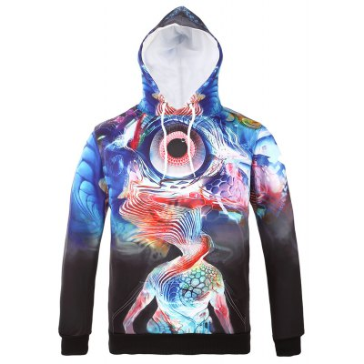 Hooded 3D Abstract Eye Print Long Sleeve Hoodie