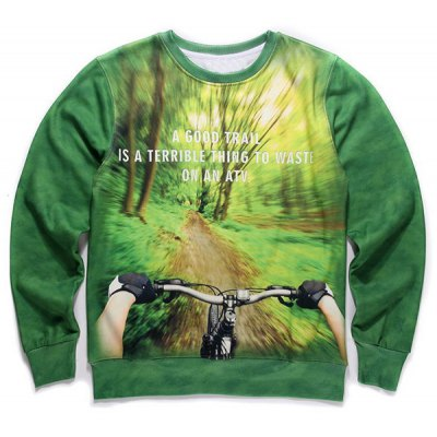 Round Neck 3D Forest and Bicycle Print Long Sleeve Fleece Sweatshirt