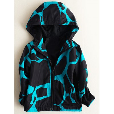 Zipper Fly Giraffe Printed Hooded Jacket