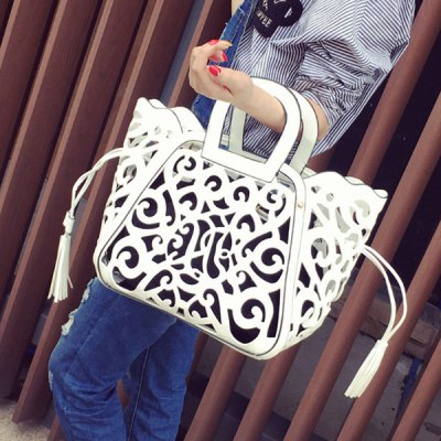 Engraving Flower Hollow Out Tote Bag
