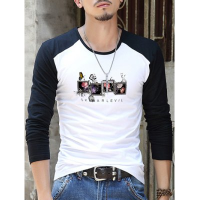 Printed Round Neck Contrast Sleeve T-Shirt