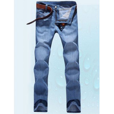 Five-Pocket Zipper Fly Straight Leg Label Jeans