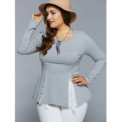 Plus Size Lace Insert Asymmetrical BlousePlus Size Tops<br>Plus Size Lace Insert Asymmetrical Blouse<br><br>Material: Rayon,Spandex<br>Clothing Length: Regular<br>Sleeve Length: Full<br>Collar: Scoop Neck<br>Style: Casual<br>Season: Fall,Spring,Summer<br>Pattern Type: Patchwork<br>Weight: 0.350kg<br>Package Contents: 1 x Blouse