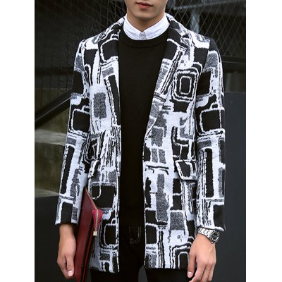 Plus Size Lapel Single-Breasted Geometric Print Lengthen Woolen Coat