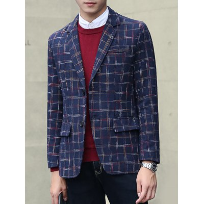 Plus Size Lapel Single-Breasted Checked Blazer