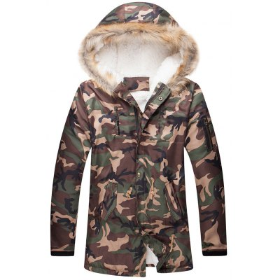 Camo Zippered Drawstring Waist Fur Hooded Sherpa Parkas