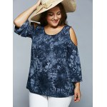 cheap Cold Shoulder Tie-Dye Blouse