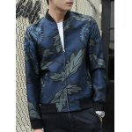 Stand Collar Leaf and Flower Print Zip-Up Jacket