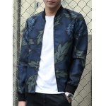Stand Collar Leaf and Flower Print Zip-Up Jacket deal