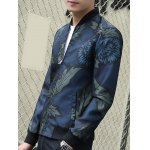 Stand Collar Leaf and Flower Print Zip-Up Jacket for sale