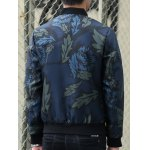 best Stand Collar Leaf and Flower Print Zip-Up Jacket