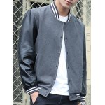 cheap Stand Collar Stripe Rib PU-Leather Spliced Design Jacket