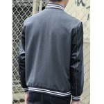 Stand Collar Stripe Rib PU-Leather Spliced Design Jacket deal