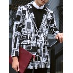 Plus Size Lapel Single-Breasted Geometric Print Lengthen Woolen Coat deal