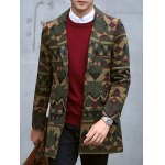 Plus Size Lapel Single-Breasted Vintage Geometric Print Woolen Coat