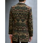 Plus Size Lapel Single-Breasted Vintage Geometric Print Woolen Coat for sale