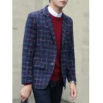 cheap Plus Size Lapel Single-Breasted Checked Blazer