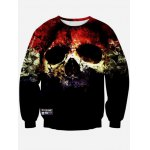 Crew Neck 3D Horrific Skull Printed Sweatshirt