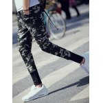 cheap Drawstring Waist Camo Printed Pants