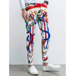 cheap Five-Pocket Zipper Fly Printed Tapered Pants