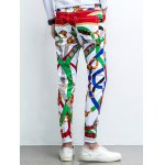 Five-Pocket Zipper Fly Printed Tapered Pants for sale