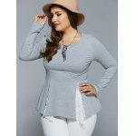 cheap Plus Size Lace Insert Asymmetrical Blouse