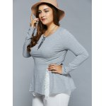 Plus Size Lace Insert Asymmetrical Blouse deal