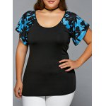Plus Size Scoop Neck Spliced Blouse