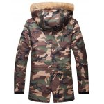 cheap Camo Zippered Drawstring Waist Fur Hooded Sherpa Parkas